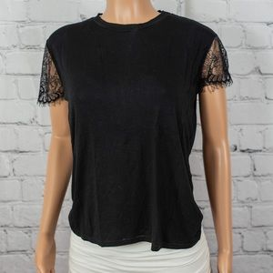 Prettylittlething lace detail short sleeve tee
